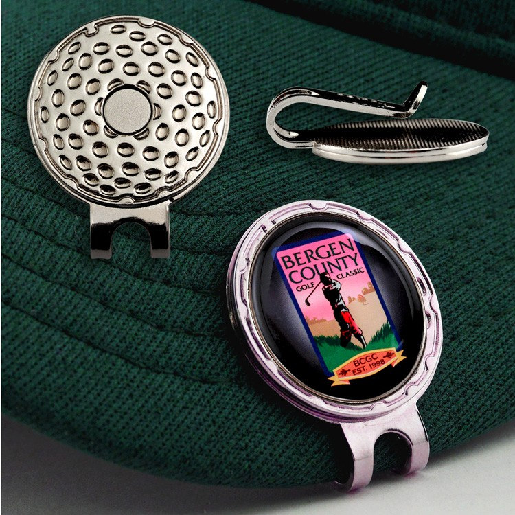 Golf Hat Clip with Custom Ball Marker (7/8) - Full color, epoxy dome