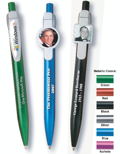 Metal Click Ball Point Pen with Epoxy Clip Imprint