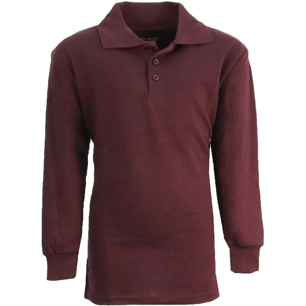 Boys Burgundy Long Sleeve Pique Polo Shirts Sizes 16 20 2273827