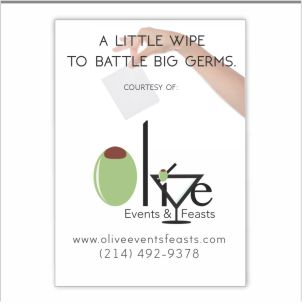 Single use anti bacterial wipe with a custom printed card attached.