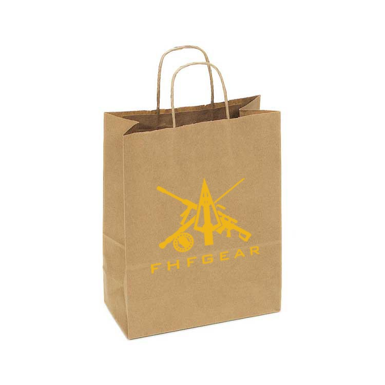 Eco Friendly Recycled Tan Kraft Paper Shopping Bags
