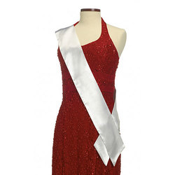 White Satin Pageant Sash