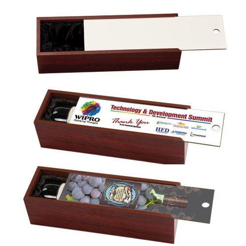 Rosewood Finish Wine Box with Full Color Sublimation Lid
