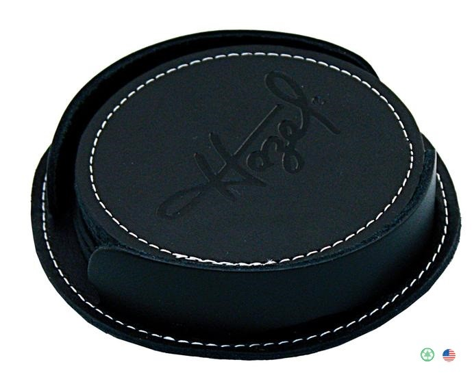 Bikers Black Leather Coaster Set