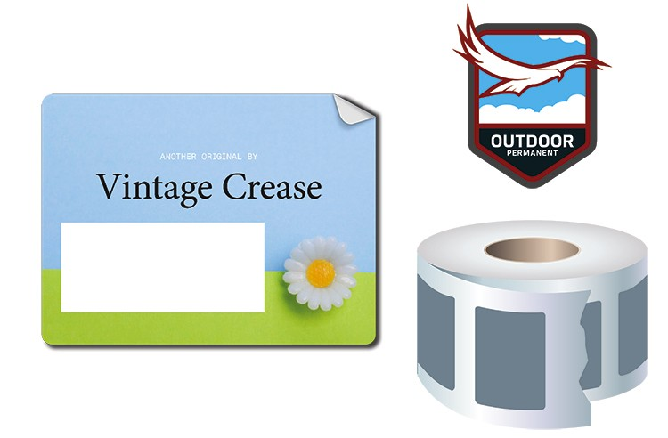 Roll Stickers / Decal - Outdoor Permanent - 4x3 Rectangle Shape