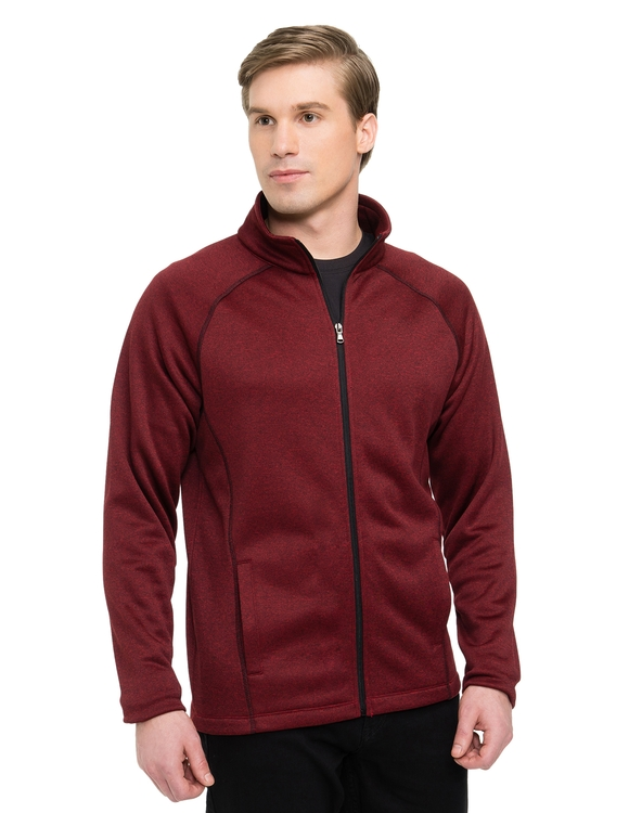Men\'s 8.8 oz. 100% polyester full zip heather fleece jacket.