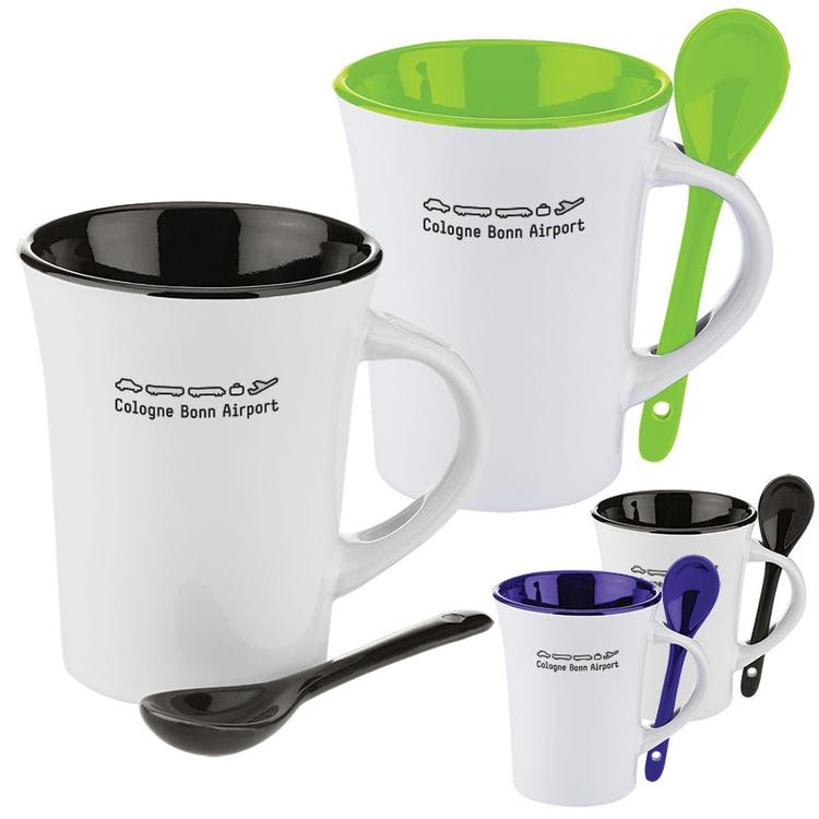 10 oz. Two-Tone Ceramic Mug with Matching Spoon