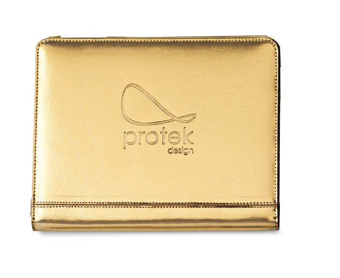 Allure Leather iPad® Stand - Metallic Gold