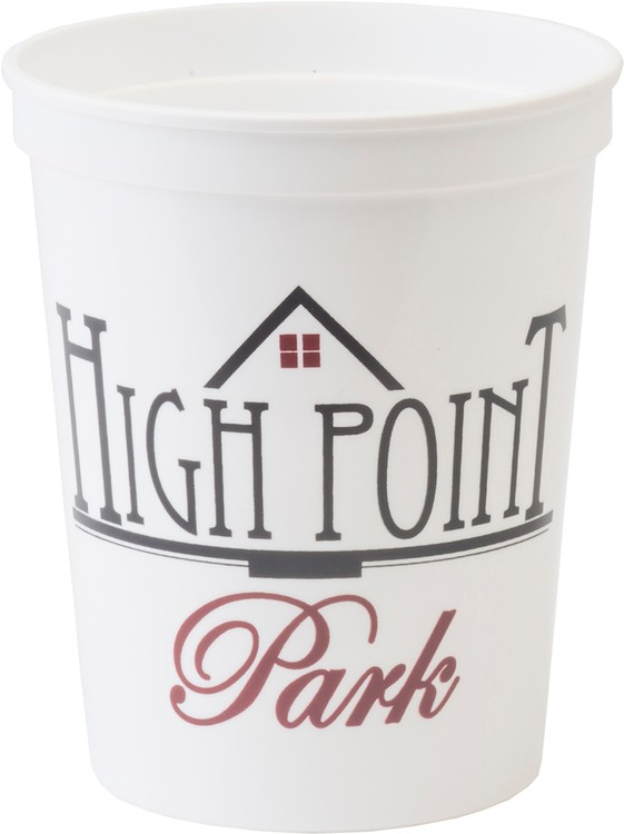 16 oz. Smooth Walled Plastic Stadium Cup with Automated Silkscreen Imprint