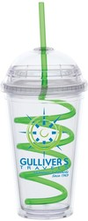16 oz Big Top Carnival Cup w/Green Curly Straw