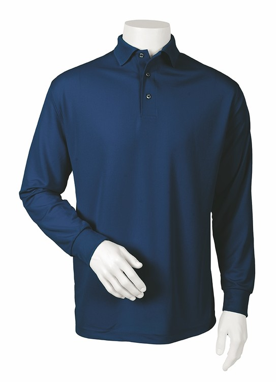 Paragon Men's Long Sleeve Performance Solid Mesh Polo