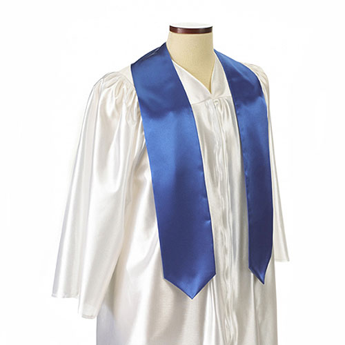 Royal Blue Polyester Satin Graduation Sash / Stole