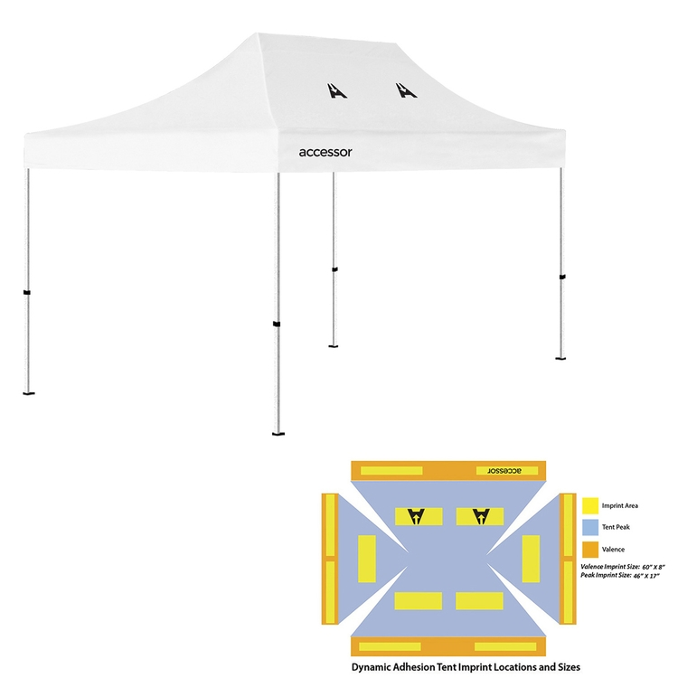 10' x 15' Pop Up Tent (Full-Color Dynamic Adhesion, 3 Locations)
