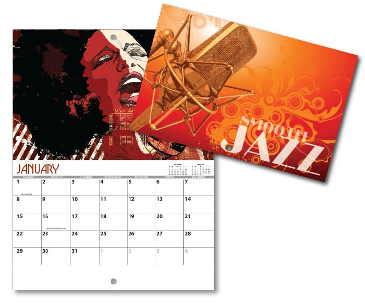 13 Month Mini Custom Photo Appointment Wall Calendar - SMOOTH JAZZ