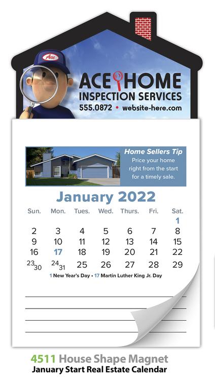 Magna-Cal House Magnet R.E. Calendar - Jan. 2018
