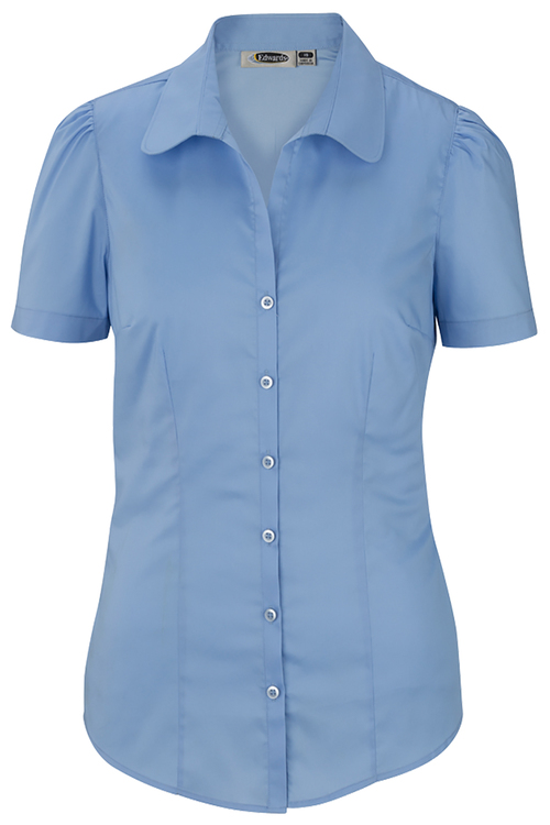 LADIES' STRETCH BLOUSE-SHORT SLEEVE