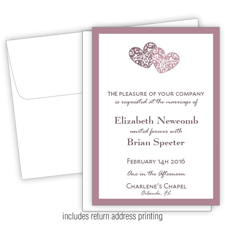 stunning hearts 5x7 wedding invitation with printed envelopes