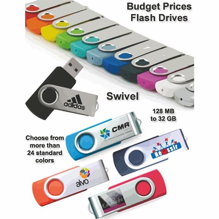 Swivel Flash Drive / USB - 1 GB Memory - Free Shipping, Free Setup!