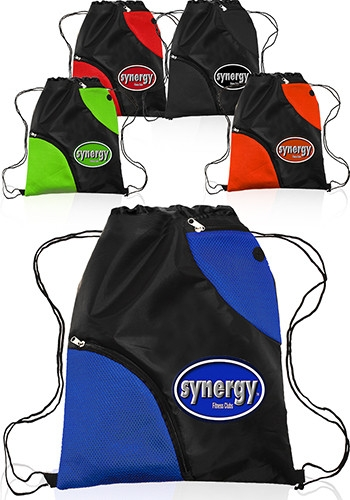 Polyester Drawstring Bag with Accent Pockets