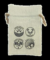REBEL Rough 100% Natural Cotton Drawstring Bag w hemp drawstring 4x6 (LINEN TEXTURE)