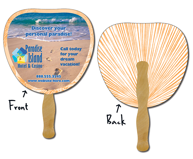 Hand Fan - 8.875x8.375 Palm/Leaf Shaped Laminated - 14 pt.