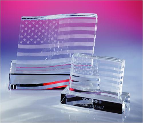 Stars And Stripes Optical Crystal Award