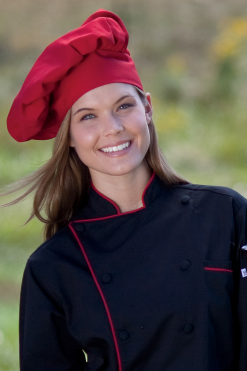 Traditional Chef Hat, Blank Red, Black