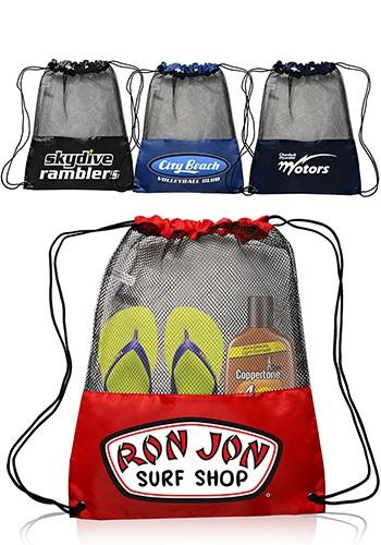 Mesh Drawstring Backpacks - 13 W x 17 H