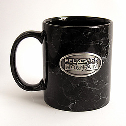 Faux Marble Ceramic Coffee Mug with Pewter Emblem
