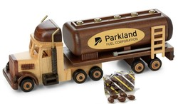 Chocolate Covered Almonds in Wooden Oil Tanker