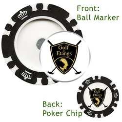 Magnetic Custom Poker Chip with custom removable Golf Ball Marker - Direct Print