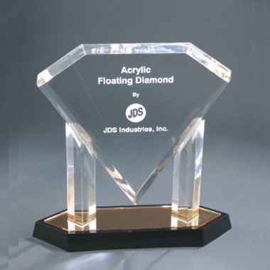 10 Inch Gold Floating Diamond Acrylic Trophy