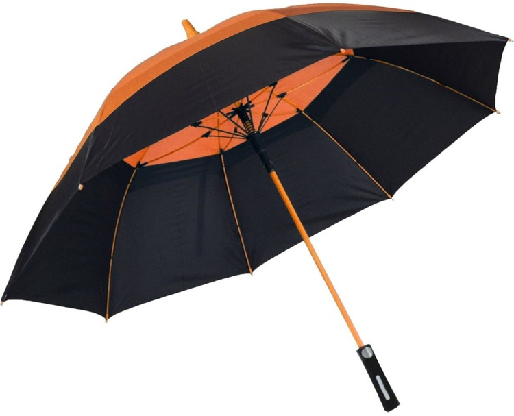 62 Inch Fiberglass Wind Resistant Vented Umbrella With Color Accent Canopy and Frame SALE