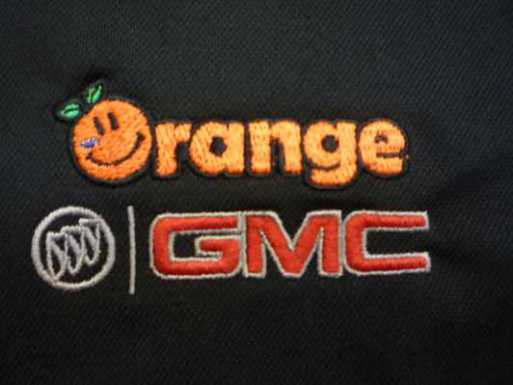 Embroidery of Orange Buick GMC logo