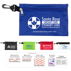 28 Piece Multiple Bandage First Aid Kit in Supersized Zipper Pouch with Plastic Hook with Antiseptic