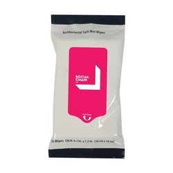 10 Pack Sanitizer Wipes in Sealed Pack - White