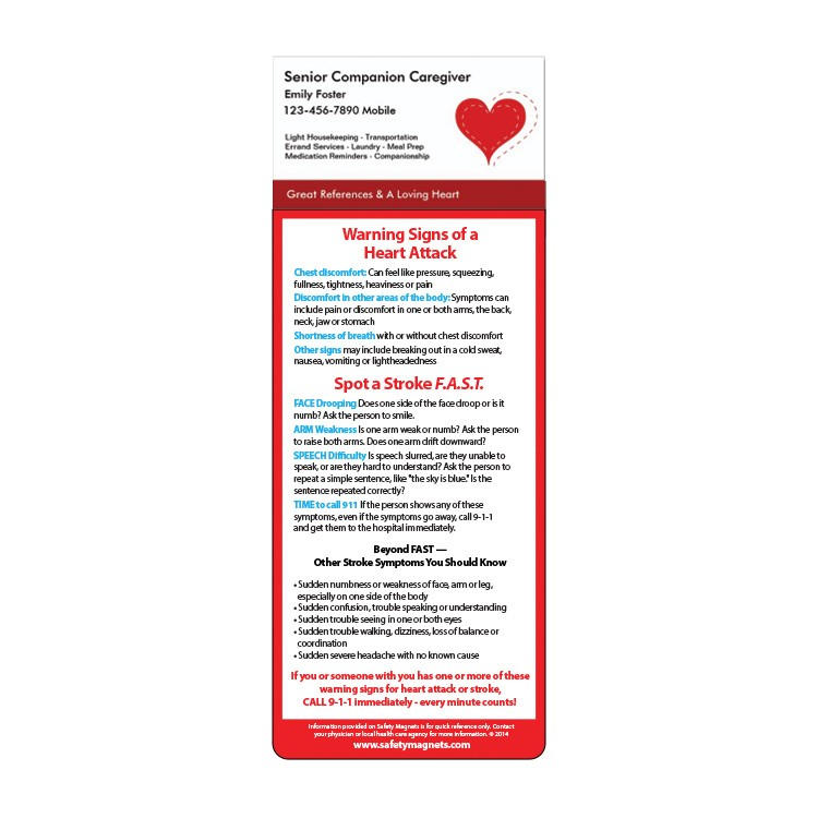 Heart Attack / FAST Stroke Signs - Add Your Business Card Magnet ...