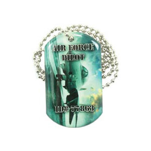 Dog Tag pendant with ball chain necklace (Single Sided)