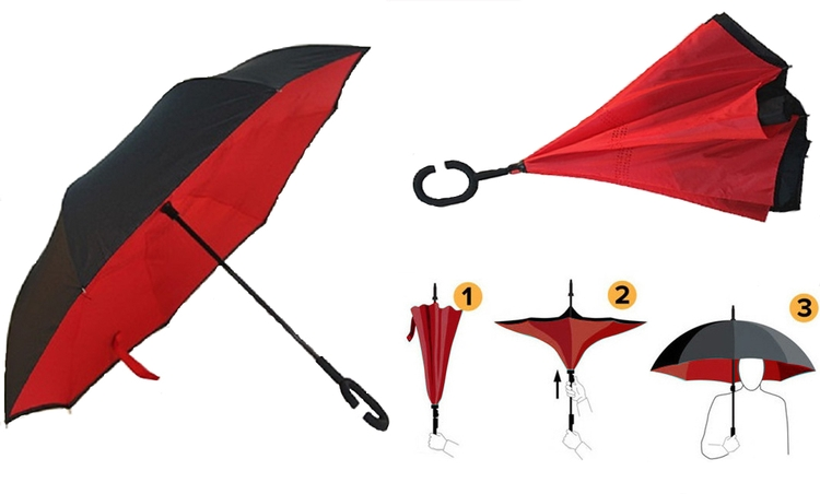 Reversed Double Layer Straight Umbrella with Leather Handle
