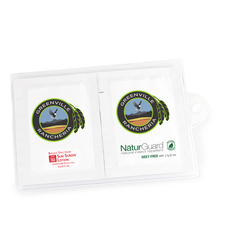 GoPac with Insect Repellent and Sun Screen Packettes, Label Imprint