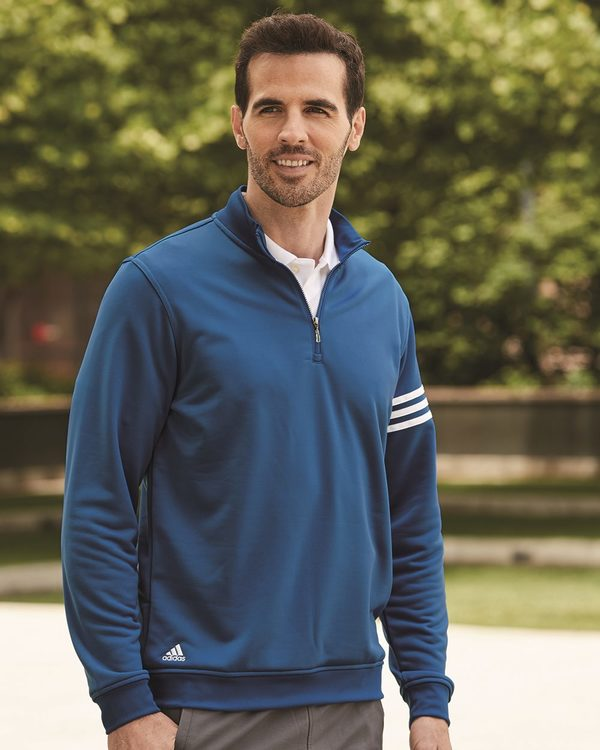 Golf ClimaLite 3-Stripes French Terry Quarter-Zip Pullover