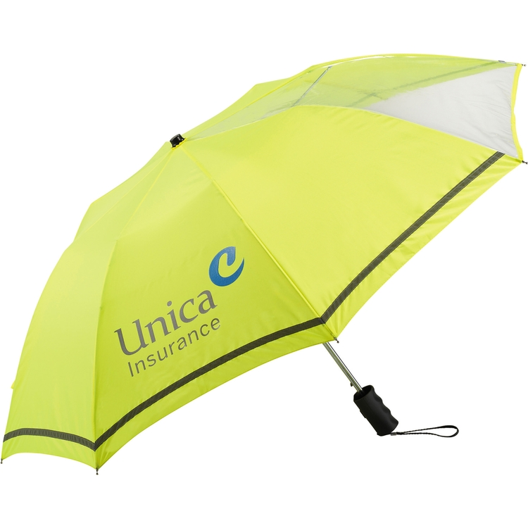 42 Inch Clear View Auto Open Safety Yellow Umbrella CLEARANCE