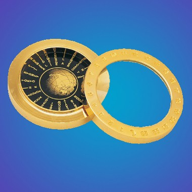 2-In-1 World Time Table w/Magnifier on Solid Brass Disc