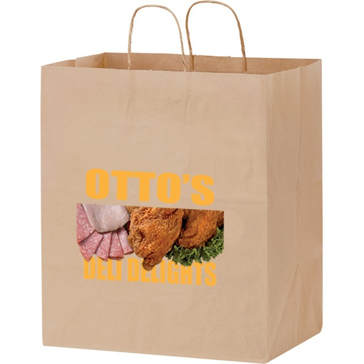 Natural Kraft Paper Shopper with Twisted Paper Handles - Take-Out Bag