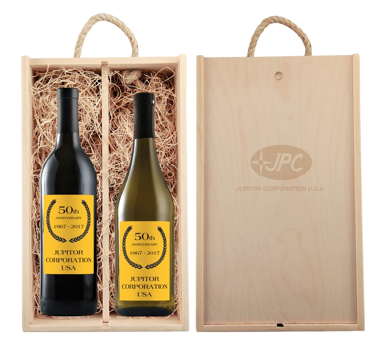 Rustic Laser Engraved Wood Box with Custom Label Wines