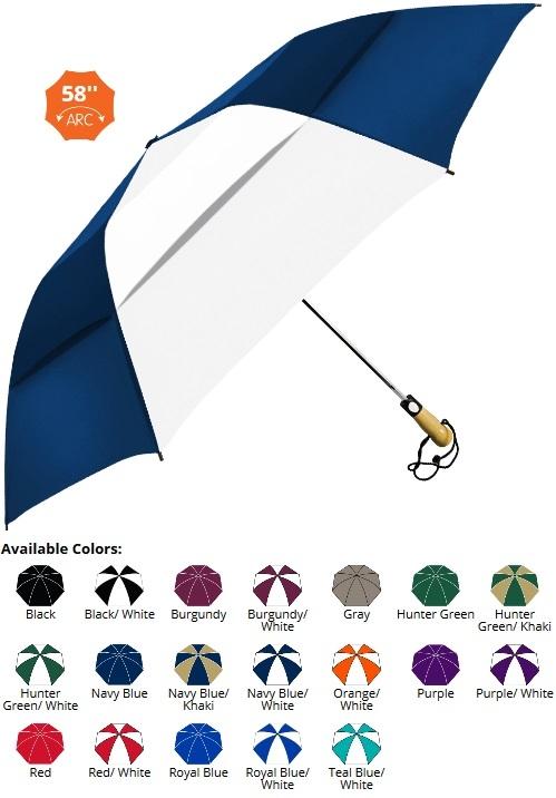 58 Inch Folding, Vented, Fiberglass, Wood Handle Umbrella SALE Until 10/31/2017- 19 Colors Available