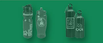 Photo of drinkware: plastic water bottles, stainless steel and aluminum bottles.
