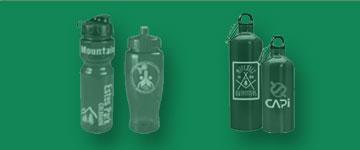 Photo of drinkware: plastic water bottles, stainless steel and aluminum bottles.