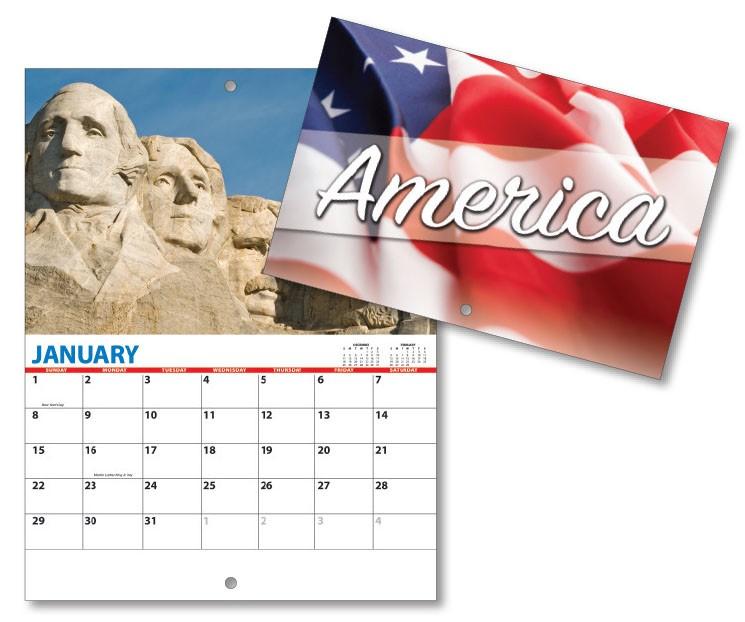 13 Month Mini Custom Photo Appointment Wall Calendar - PATRIOTIC