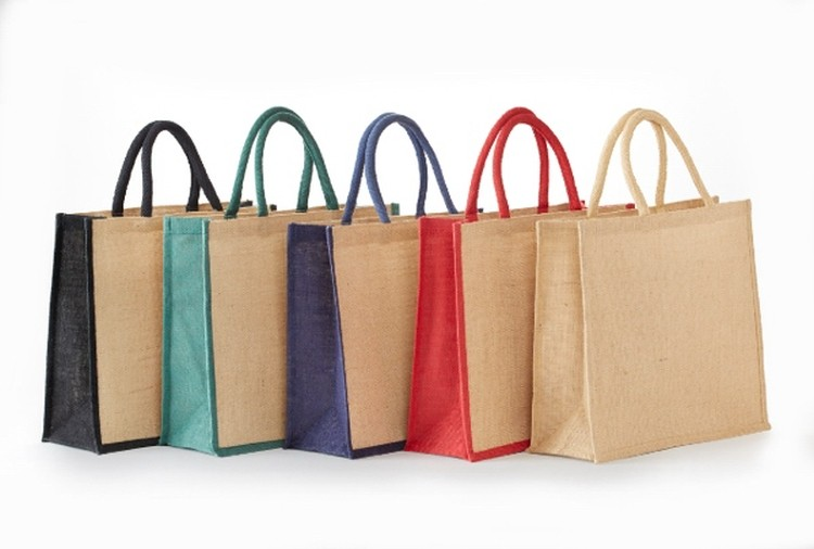 All Natural jute grocery tote with rope handles.15X13X6